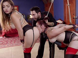 Bound Dani Daniels and Bella Rossi profile sex slaves be beneficial to stern Master