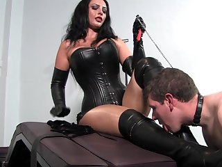 Dominant woman pleases herself less young slave dick