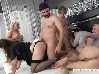 Really forlorn orgy with dirty like mud matured whores thirsting for orgasm