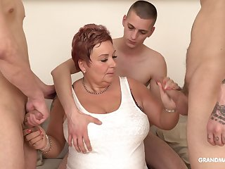 Surrounded by dudes mature fat whore is so into sucking cocks infertile