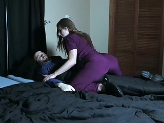 Wicked nurse pees on her patient and smothers him fro her pussy