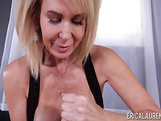 Blonde grown up housewife Erica Lauren is canon of sensual daily handjob