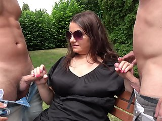 Chubby old son gets her toes on two make fit cocks