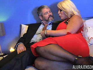 Chubby blonde foetus with huge boobies Alura Jenson is hammered doggy style