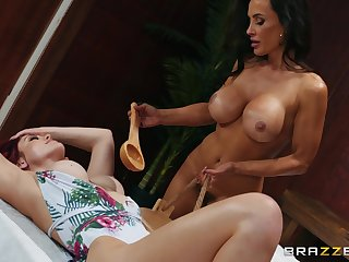 Relaxing time in sauna turns to lesbian experience for Lisa Ann