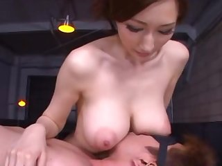 Mosaic: Big tits Asian gives hand and titsjob