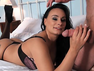 Brunette milf Eva May gets her pussy pounded to many poses
