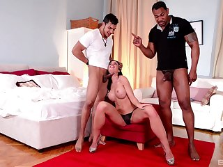 April Blue gets to deal two big dicks in a kinky trio