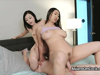 Big cock triune with horny Asian hotties