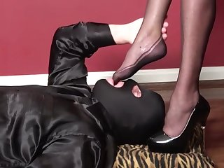 Pvc black mini dress, high heels, nylons, blowjob, fuck