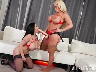 Hot milfs share the strap-on everywhere taking inverted play