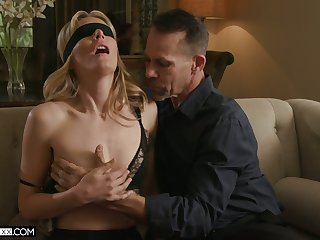 Threesome surprise for sex-starved wife with small titties Mona Wales