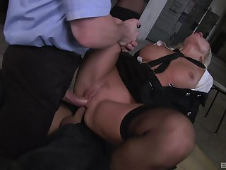 Milf gets double fucked by two unseeable men with bulky dicks