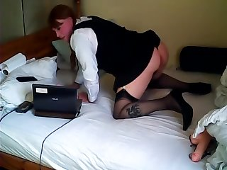 St Trinian's outfit and sucking a Dildo