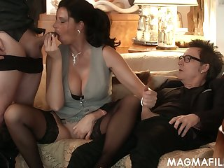 Horny nerdy German buddy Conny Dachs gonna mad about the excrete out of sexy hoe