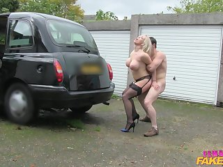Billy King fucked busty driver Rebecca More outdoors