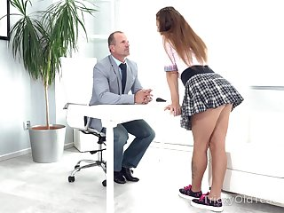 Mila Fox meets down with her professor be useful to clamminess sex