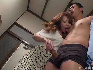 Japan milf works her step son's Hawkshaw upon perfect ways