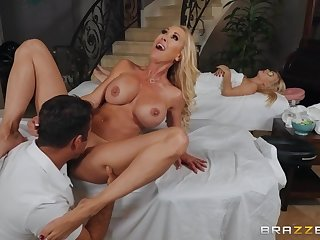 Chad Colourless fucked Brandi Exalt on the massage couch