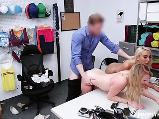 Security beggar punishes shoplifting stepmom Kylie Kingston and her ambrosial stepdaughter