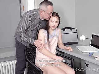 Tricky old teacher fucks Straight A-student Nikka Hill and cums primarily her belly