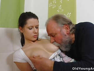 Naughty young gal Irene is seduced by plump gaffer who wanna fuck say no to