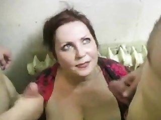 russian slut fucks 2 cocks insusceptible to the stairs (part4)