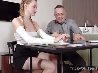 Old teacher is fucking pretty hot student Ivi Apply the brakes and cums on her tushy