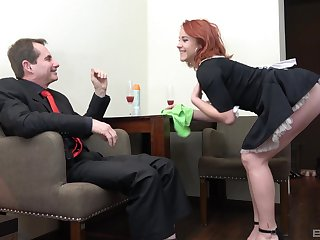 Redhead maid Anna Jelinkova fucked from behind away from the digs owner