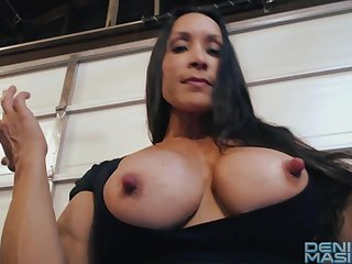 Bodybuilder MILF Denise shows their way tits