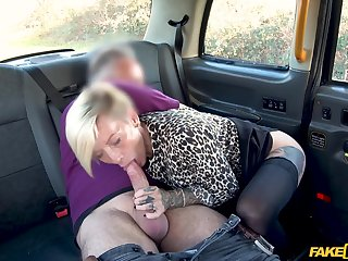Slutty tow-headed chick Angel Cruz with big bosom fucked give the taxi