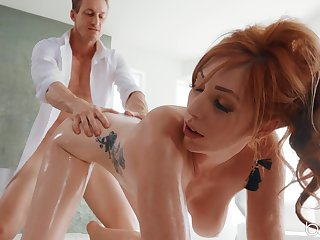 Chunky natural tits Lauren Phillips oiled up and fucked in her butt
