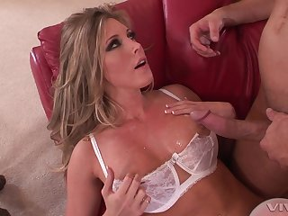 Busty blonde wife Samantha Saint roughly white underthings milking a cock