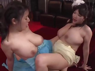 Threesome Japanese lesbian sex with busty moms - broad in the beam naturals, scissoring